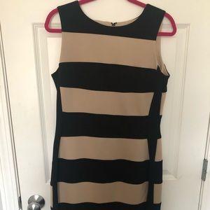 Tan & Black Striped Dress
